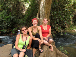 Jeanne, Lien and Carolien at the Kintampo Waterfalls